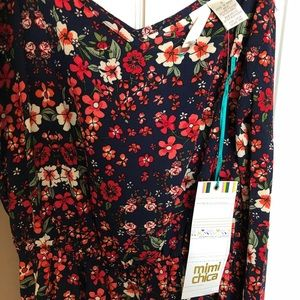 Mimi Chica Cold Shoulder Floral Print Dress, Small